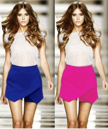 Women Lady Mini Skirt Wrap Culottes Low Waist Irregular Hem Hot Pant Shorts